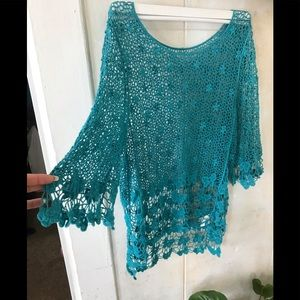 Blue Handmade Embroidered Lace Top